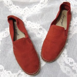 Free People Suede Leather Loafers Espadrille Flats